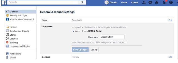 facebook username set